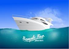 Yate moderno blanco en el mar, ejemplo del vector stock de ilustración