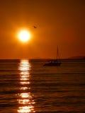 Yate y pájaro en la puesta del sol Imagen de archivo