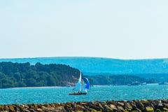 Yates hermosos en la bahía, navegando en el océano, cielo claro, Imágenes de archivo libres de regalías