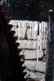 Yates Mill Pond Water Wheel with Icicles Stock Photos