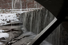 Yates Mill Pond Water Wheel with Waterfall Stock Image