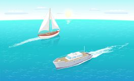 Yates modernos Marine Nautical Personal Ship Icon ilustración del vector