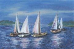 Yates por el mar de Obsky stock de ilustración