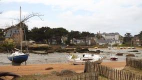 Yates y barcos durante marea baja metrajes