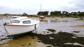 Yates y barcos durante marea baja almacen de metraje de vídeo