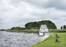 Yaught on lake near Sneek in dutch province of friesland during Royalty Free Stock Photo