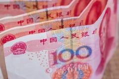 100 yaun bills on desk. Financial investment Stock Image