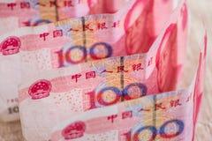 100 yaun bills on desk. Financial investment Stock Photos