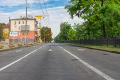 Yavornytskyi Avenue at summer morning weekend in Dnepr city. Dnepr, Ukraine - August 24, 2016: Yavornytskyi Avenue at summer morning weekend in Dnepr city stock photography