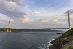 Yavuz Sultan Selim Bridge 3ème pont de Bosphorus de turc Photographie stock libre de droits