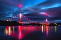 Yavuz Sultan Selim Bridge a Costantinopoli, Turchia fotografia stock libera da diritti