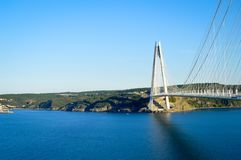 Yavuz Sultan Selim Bridge. A view of the Yavuz Sultan Selim bridge over the Bosphorus strait in Istanbul, Turkey Stock Photo