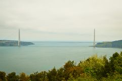 Yavuz Sultan Selim Bridge. A view of the Yavuz Sultan Selim bridge over the Bosphorus strait in Istanbul, Turkey Royalty Free Stock Photography