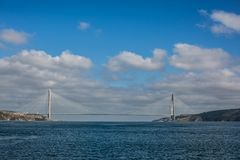 Yavuz Sultan Selim suspension bridge over the Bosphorus Strait stock photo