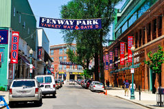 Yawkey Way at Fenway Park, Boston, MA. Fenway Park, Boston, MA, home of the Boston Red Sox Royalty Free Stock Images