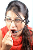 Yawling call center executive Royalty Free Stock Photo