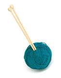 Yawn ball and knitting needles Stock Image