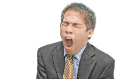 Yawning Asian businessman Stock Images