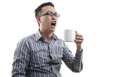 Yawning Asian male Stock Photos