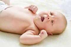 Yawning baby girl Royalty Free Stock Photos