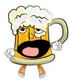 Yawning beer cartoon Stock Photos
