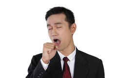 Yawning businessman, isolated on white Stock Photography