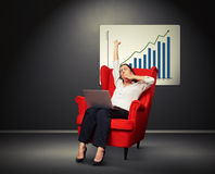 Yawning businesswoman against placard with positive graph Stock Image