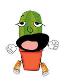 Yawning cactus cartoon Royalty Free Stock Images