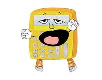 Yawning calculator cartoon Stock Images