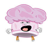 Yawning chef hat cartoon Royalty Free Stock Image