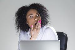 Yawning cute office employee Stock Photo