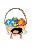 Yawning  easter basket cartoon Stock Image