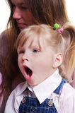 Yawning girl. royalty free stock photography