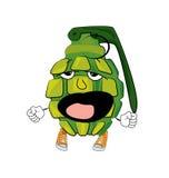 Yawning Grenade cartoon Stock Image