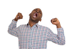 Yawning lazy man Stock Photos
