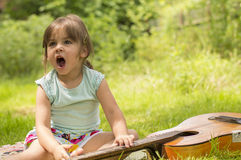 Yawning little girl Royalty Free Stock Photo