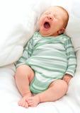 Yawning New Born Baby Stock Photo