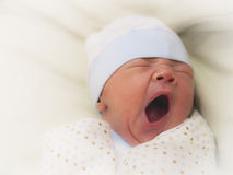 Yawning newborn Stock Photos