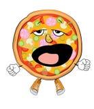 Yawning pizza cartoon Stock Photos