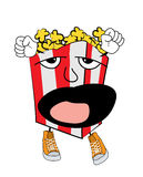 Yawning Pop corn cartoon Royalty Free Stock Photo