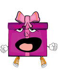 Yawning present box cartoon Royalty Free Stock Photography