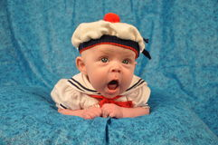 Yawning Sailor Baby Royalty Free Stock Photography
