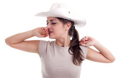 Yawning stretching female tourist Royalty Free Stock Photo