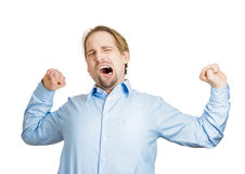 Yawning, stretching man Stock Photo