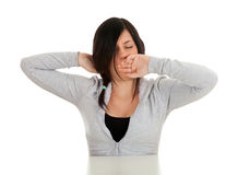 Yawning stretching woman Stock Images