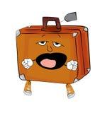 Yawning Suitcase cartoon Royalty Free Stock Image