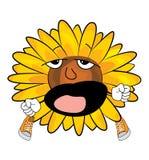 Yawning sunflower cartoon Royalty Free Stock Image