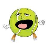 Yawning tennis ball cartoon Royalty Free Stock Images