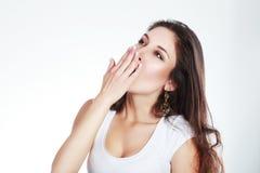 Yawning tired woman Royalty Free Stock Image