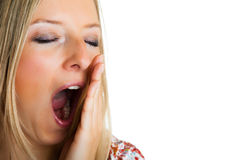 Yawning woman Stock Images